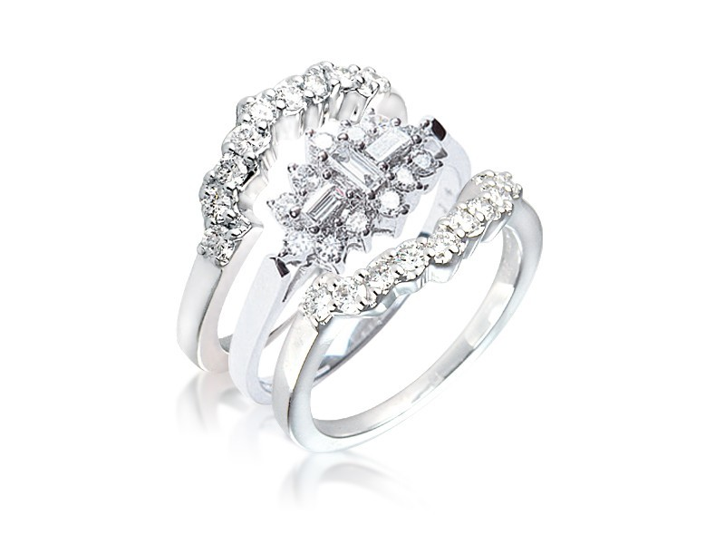 18ct White Gold 1.00ct Diamonds Bridal Set