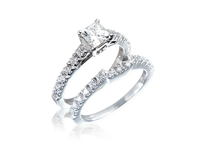 18ct White Gold 1.10ct Diamonds Bridal Set