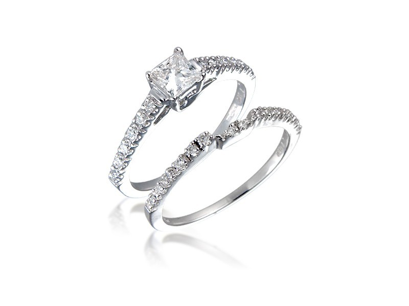 18ct White Gold 0.75ct Diamonds Bridal Set