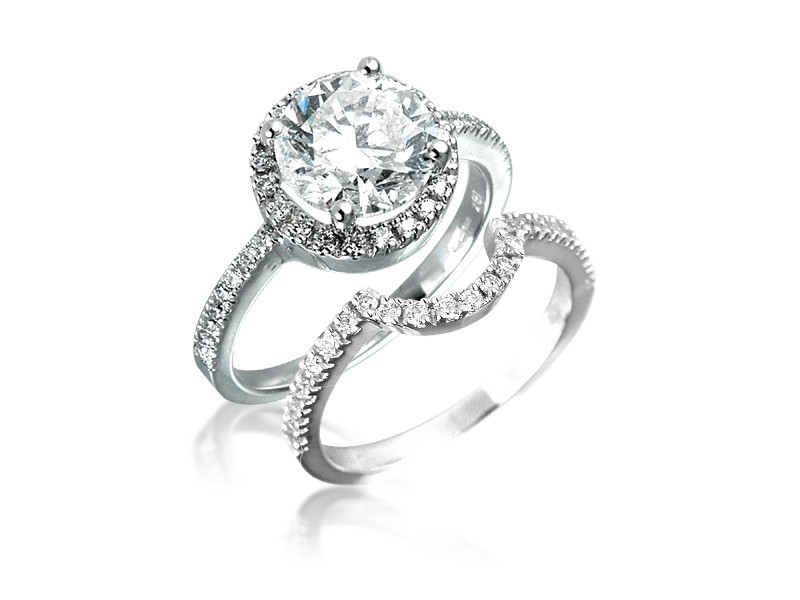 18ct White Gold 3.07ct Diamonds Bridal Set