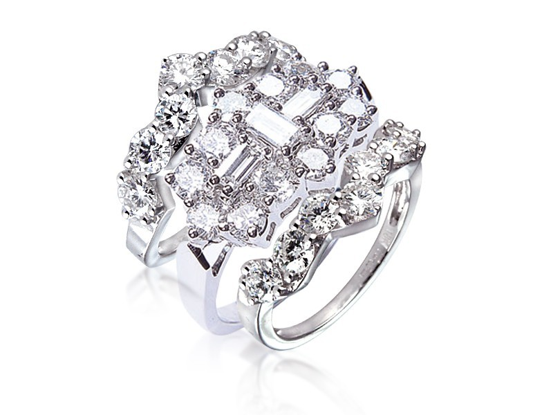 18ct White Gold 4.00ct Diamonds Bridal Set
