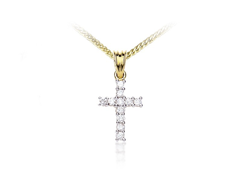 18ct Yellow Gold Cross with 0.25ct Diamonds.