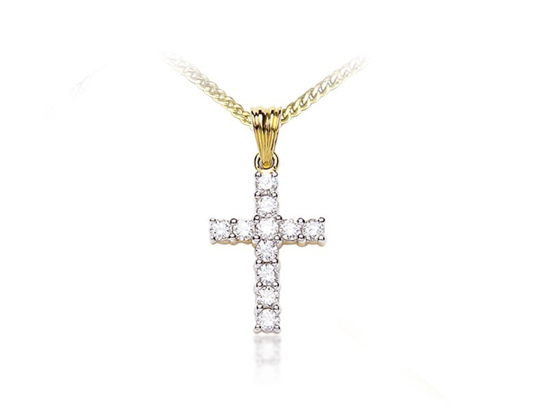 18ct Yellow Gold Cross with 0.50ct Diamonds.