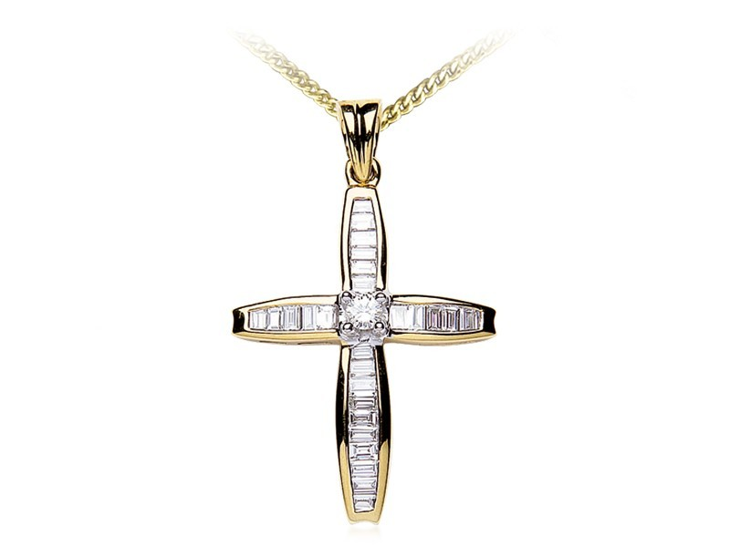 18ct Yellow Gold Cross with 1.00ct Diamonds.