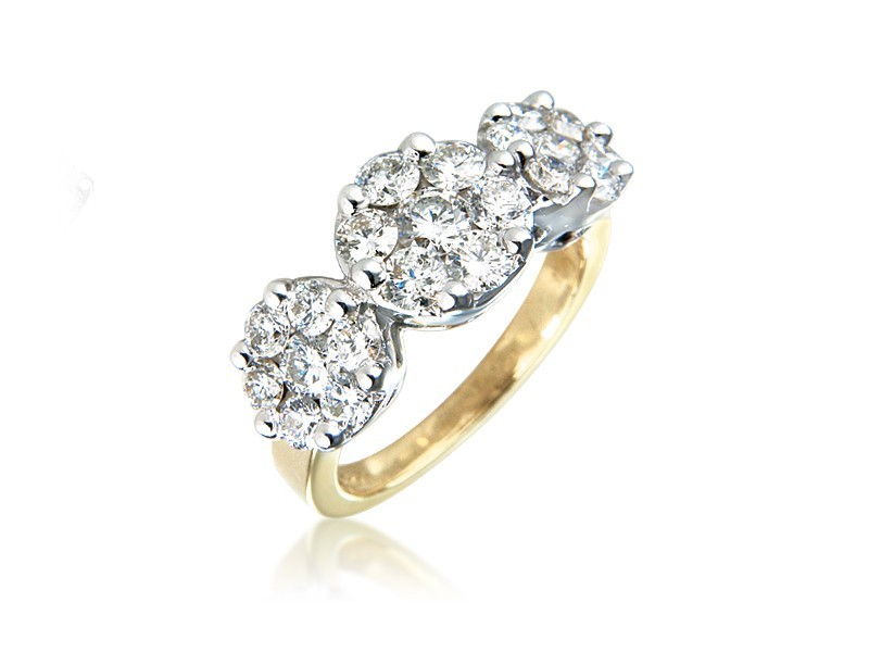 18ct Yellow & White Gold ring  with 2.00ct Diamonds in white gold mount