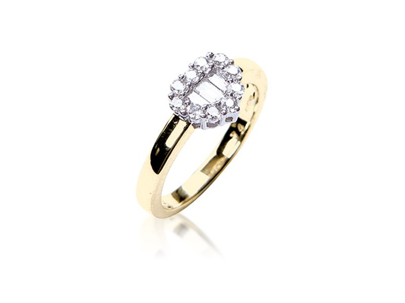 18ct Yellow & White Gold ring with 0.35ct Diamonds in white gold mount.