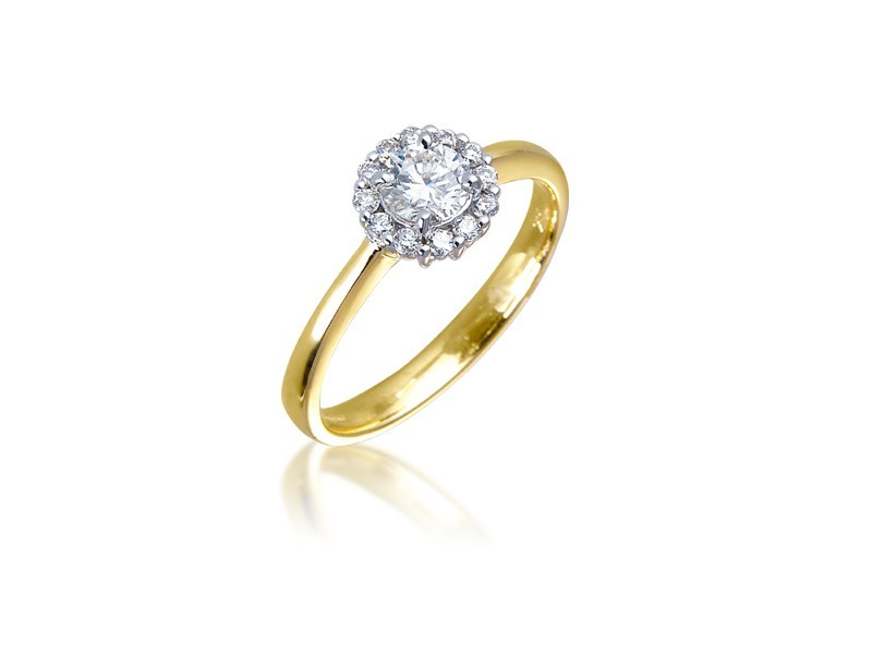 18ct Yellow & White Gold ring with 0.45ct Diamonds in white gold mount.