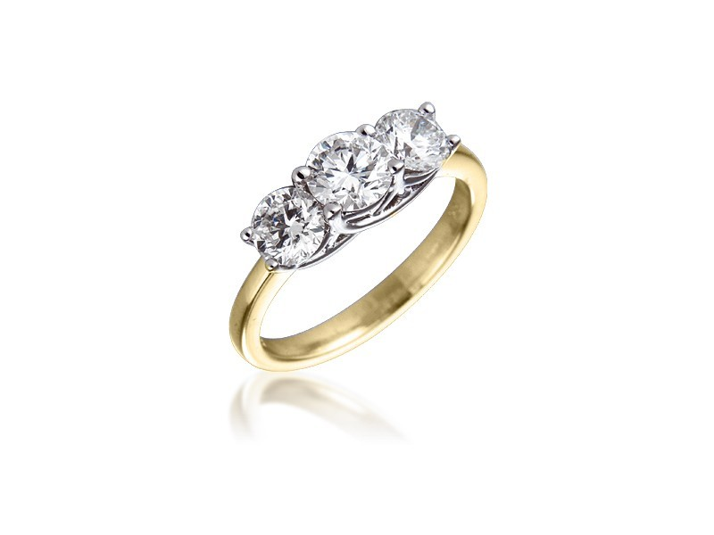 3 stone 18ct Yellow & White Gold ring with 1.50ct Diamonds in white gold mount.