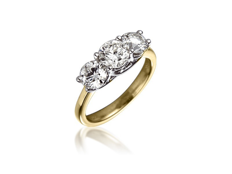 3 stone 18ct Yellow & White Gold ring with 2.00ct Diamonds in white gold mount.