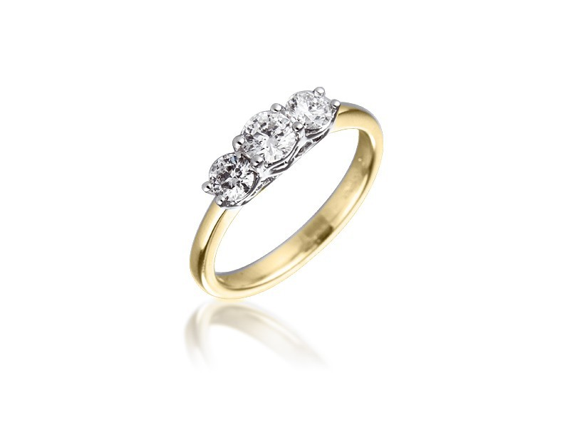 3 stone 18ct Yellow & White Gold ring with 0.75ct Diamonds in white gold mount.