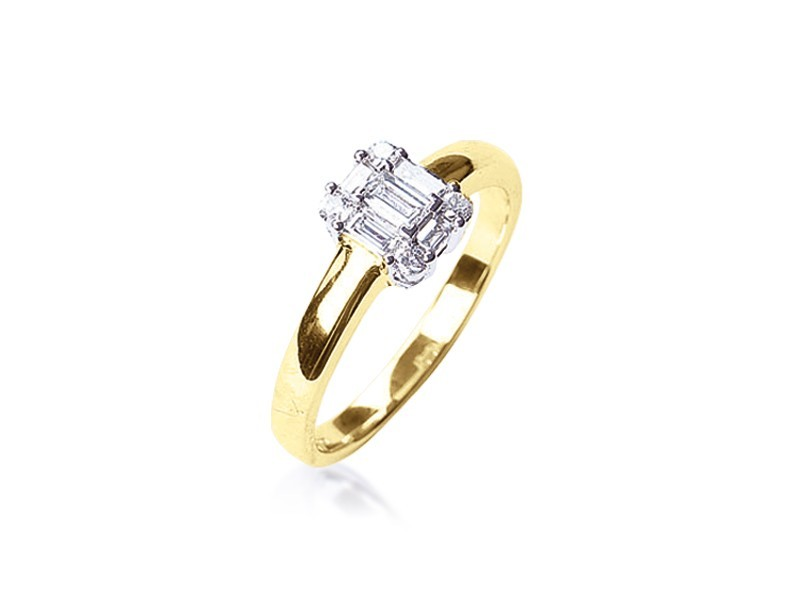 18ct Yellow & White Gold 0.30ct Diamond Cluster Engagement Ring