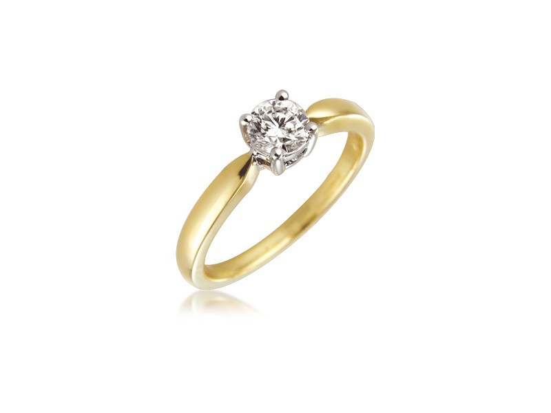 18ct Yellow & White Gold 0.50ct Diamond Solitaire Engagement Ring