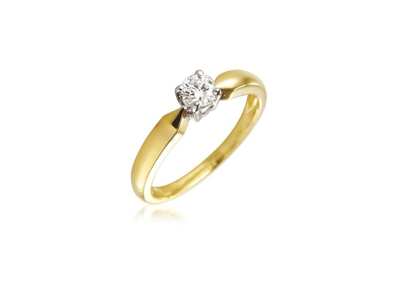 18ct Yellow & White Gold 0.20ct Diamond Solitaire Engagement Ring