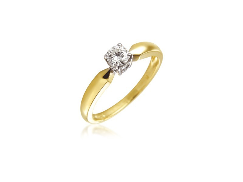 18ct Yellow & White Gold 0.25ct Diamond Solitaire Engagement Ring