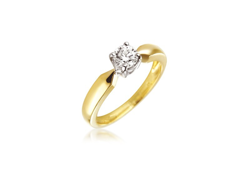 18ct Yellow & White Gold 0.33ct Diamond Solitaire Engagement Ring