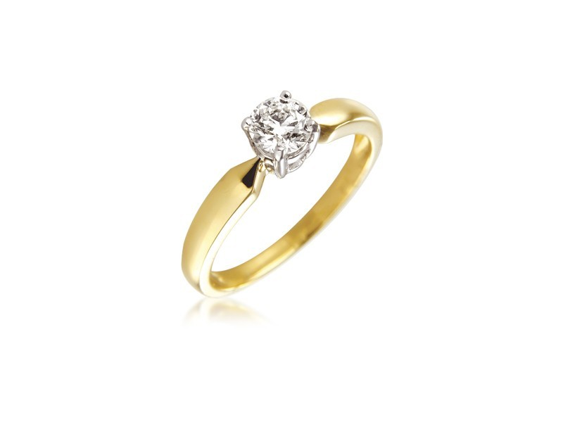 18ct Yellow & White Gold 0.40ct Diamond Solitaire Engagement Ring
