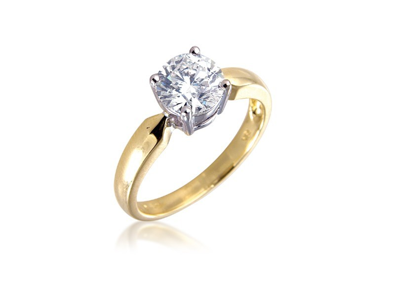 18ct Yellow & White Gold 1.50ct Diamond Solitaire Engagement Ring
