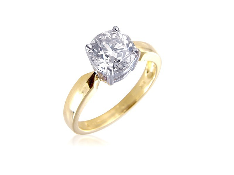 18ct Yellow & White Gold 2.00ct Diamond Solitaire Engagement Ring