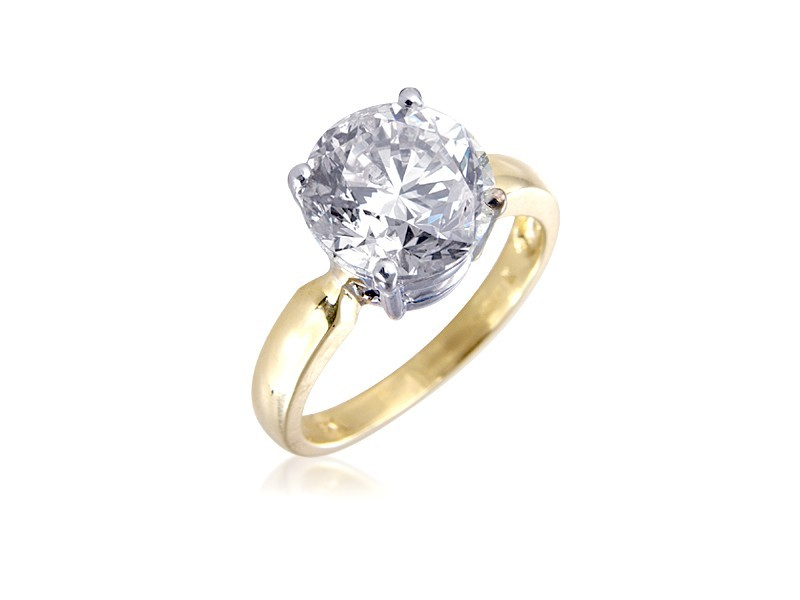 18ct Yellow & White Gold 4.00ct Diamond Solitaire Engagement Ring
