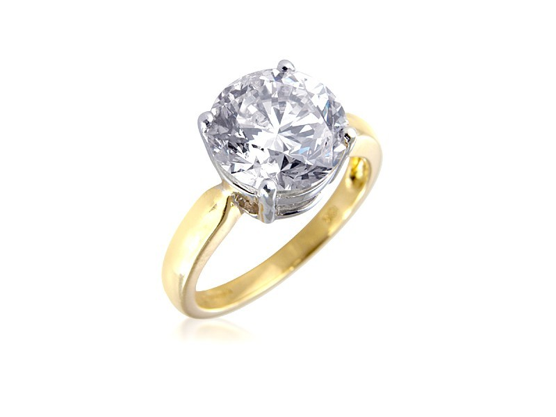 18ct Yellow & White Gold 5.00ct Diamond Solitaire Engagement Ring
