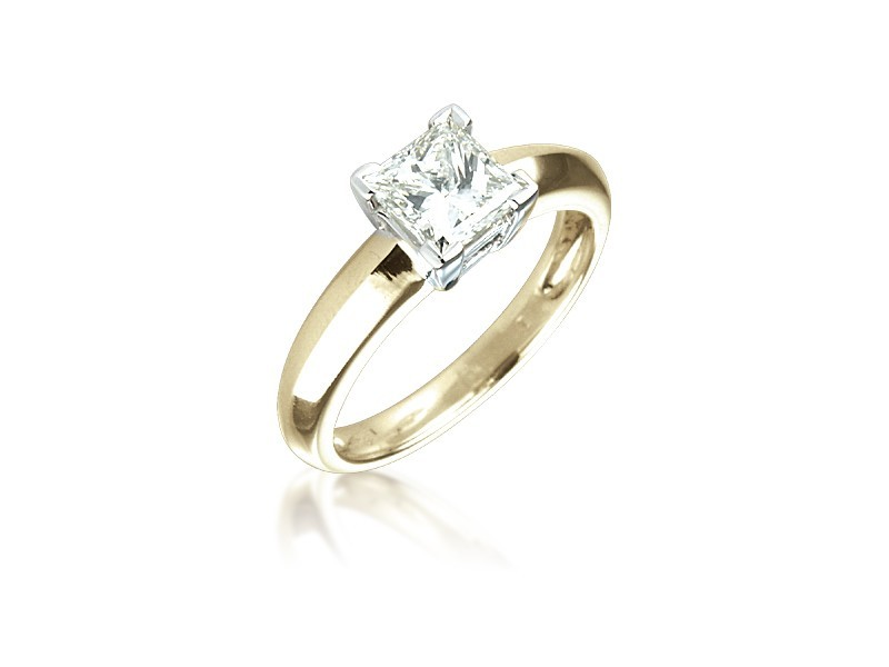 18ct Yellow & White Gold 1.00ct Diamond Solitaire Engagement Ring