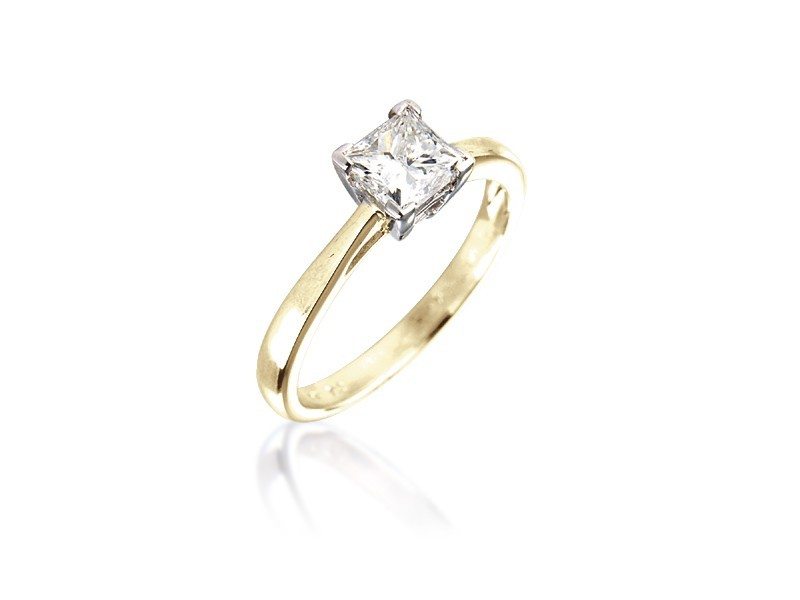 18ct Yellow & White Gold 0.75ct Diamond Solitaire Engagement Ring