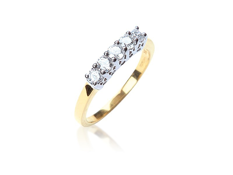 18ct Yellow & White Gold Eternity Ring with 0.50ct Diamonds in white gold mount.
