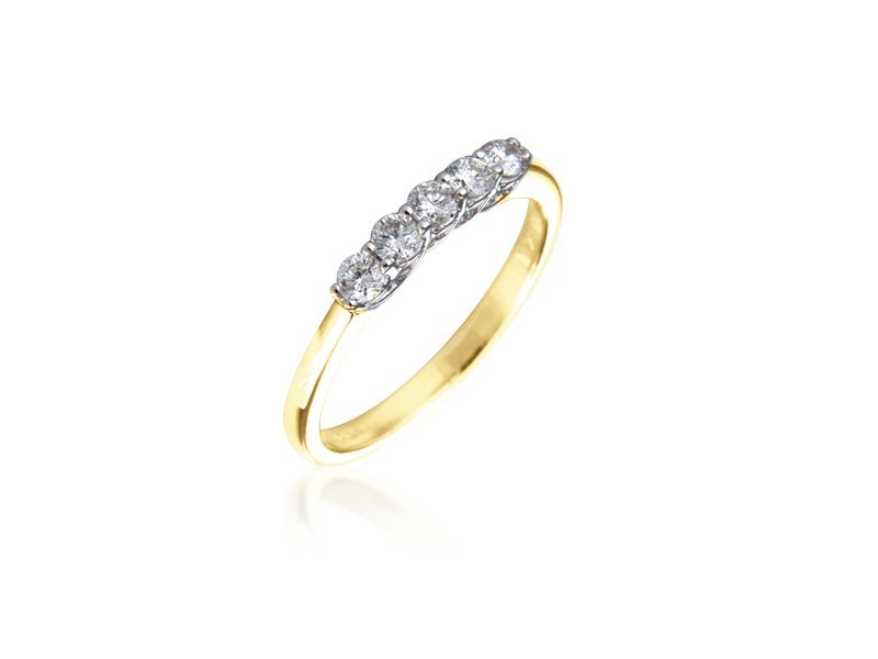 18ct Yellow & White Gold Eternity Ring with 0.30ct Diamonds in white gold mount.