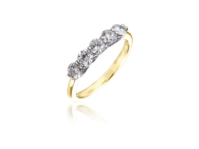 18ct Yellow & White Gold Eternity Ring with 0.75ct Diamonds in white gold mount.