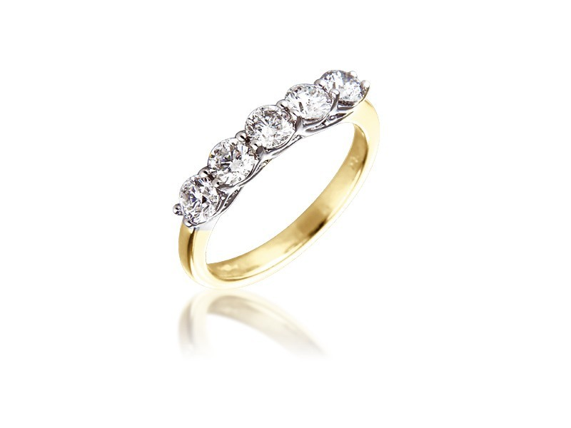 18ct Yellow & White Gold Eternity Ring with 1.00ct Diamonds in white gold mount.