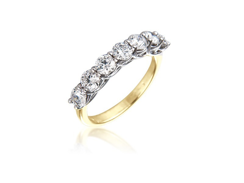 18ct Yellow & White Gold Eternity Ring with 1.50ct Diamonds in white gold mount.