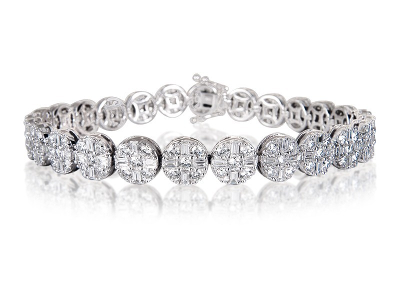 18ct White Gold & 7.30ct Diamonds Bracelet