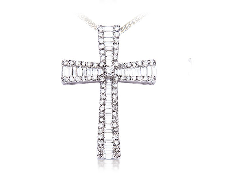 18ct White Gold Cross with 1.25ct Diamonds.