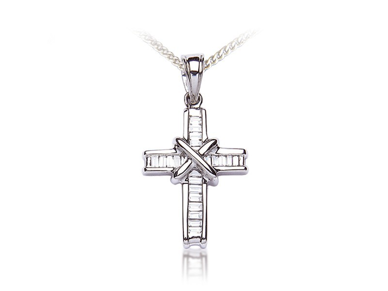 18ct White Gold Cross with 0.50ct Diamonds.