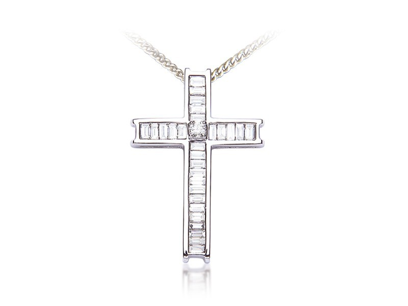 18ct White Gold Cross with 1.00ct Diamonds.