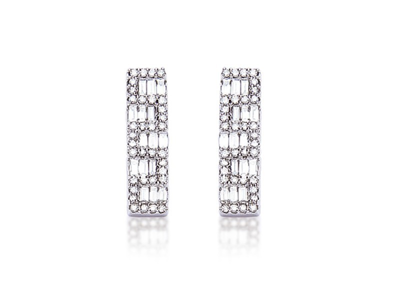 18ct White Gold & 0.75ct Diamonds Drop Earrings