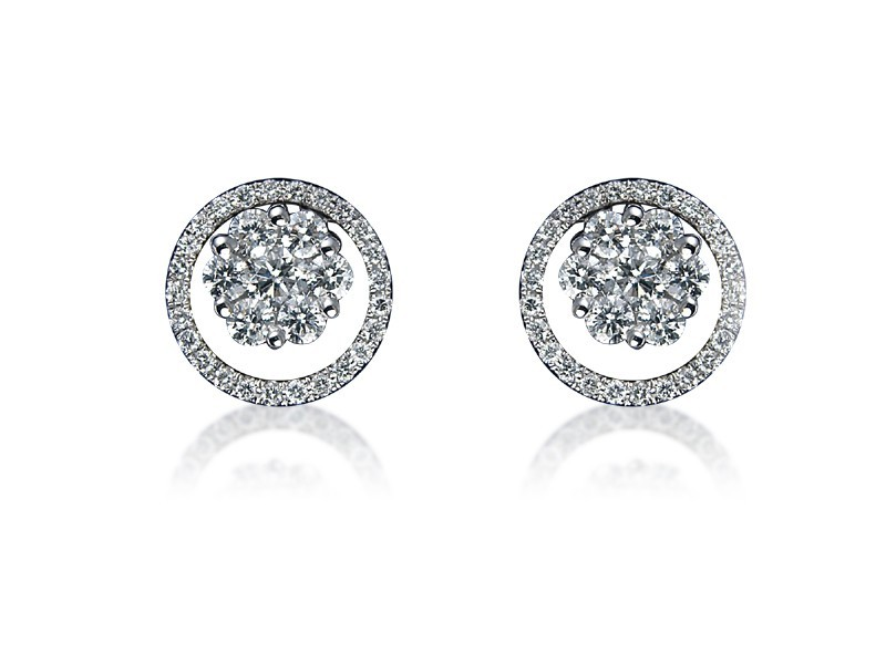18ct White Gold & 1.00ct Diamonds Stud Earrings
