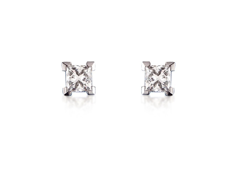18ct White Gold Stud Earrings with Single Stone Princess Cut 1.00ct Diamonds.