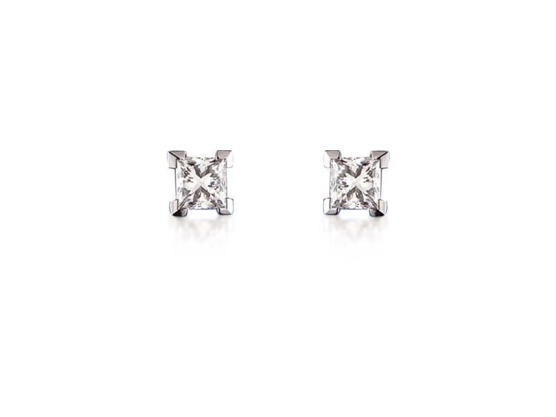 18ct White Gold Stud Earrings with Single Stone Princess Cut 0.75ct Diamonds.