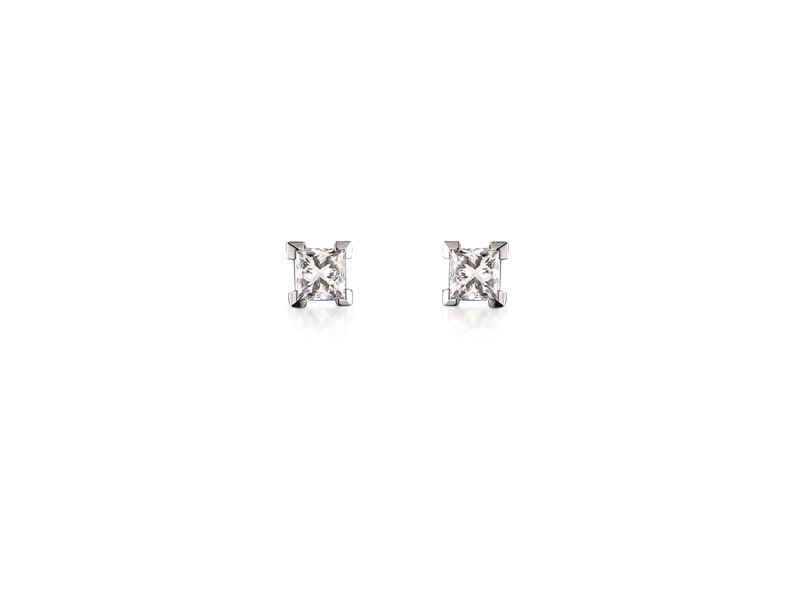 18ct White Gold Stud Earrings with Single Stone Princess Cut 0.25ct Diamonds.