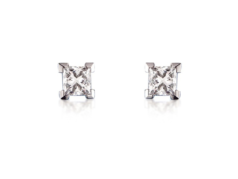 18ct White Gold Stud Earrings with Single Stone Princess Cut 1.50ct Diamonds.