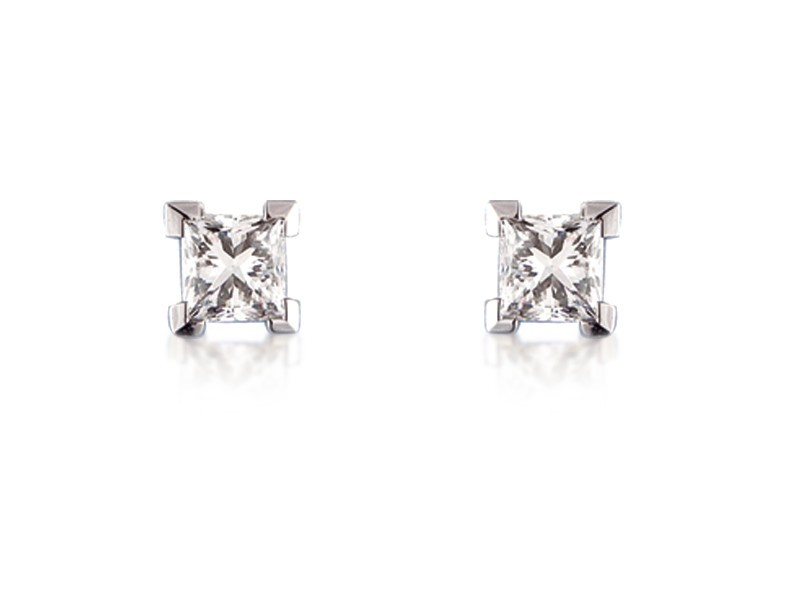 18ct White Gold Stud Earrings with Single Stone Princess Cut 2.00ct Diamonds.
