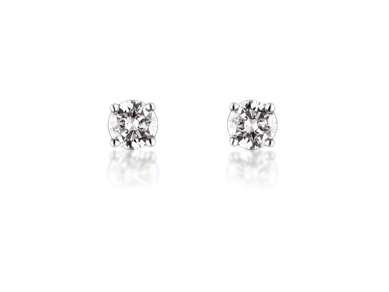 18ct White Gold Earrings  with Single Stone Brilliant Cut 1.00ct   Diamonds.