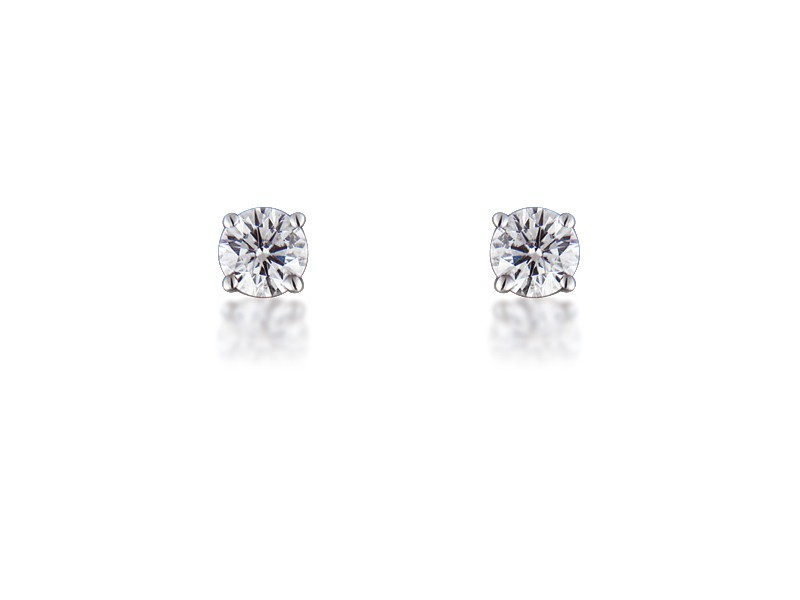 18ct White Gold Earrings  with Single Stone Brilliant Cut 0.75ct Diamonds.