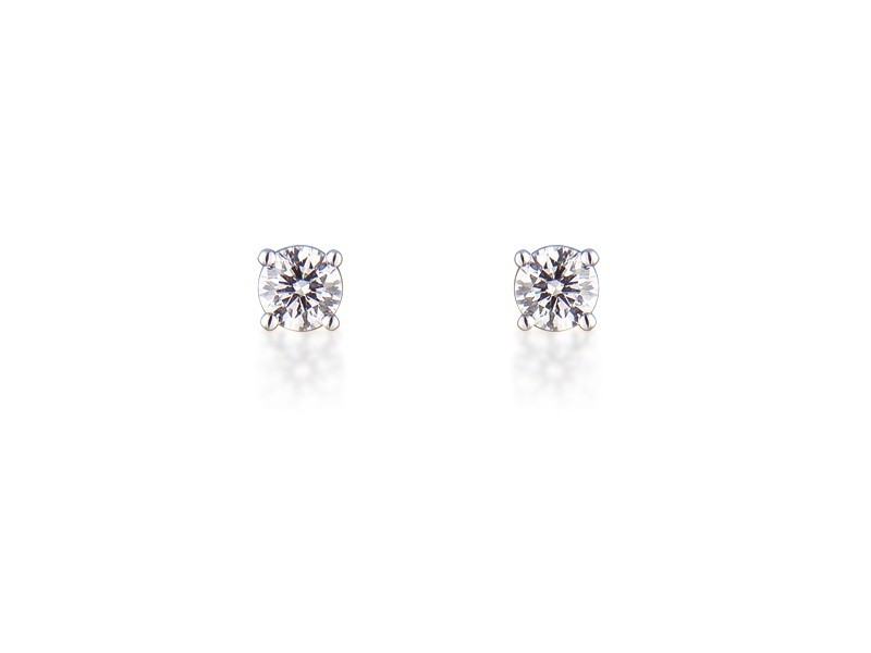 18ct White Gold Earrings  with Single Stone Brilliant Cut 0.50ct Diamonds.
