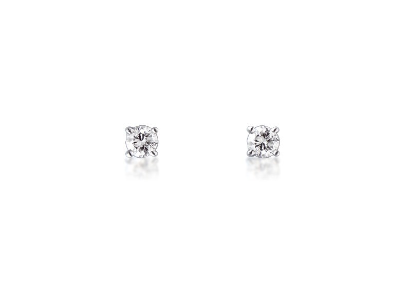 18ct White Gold Earrings  with Single Stone Brilliant Cut 0.25ct Diamonds.