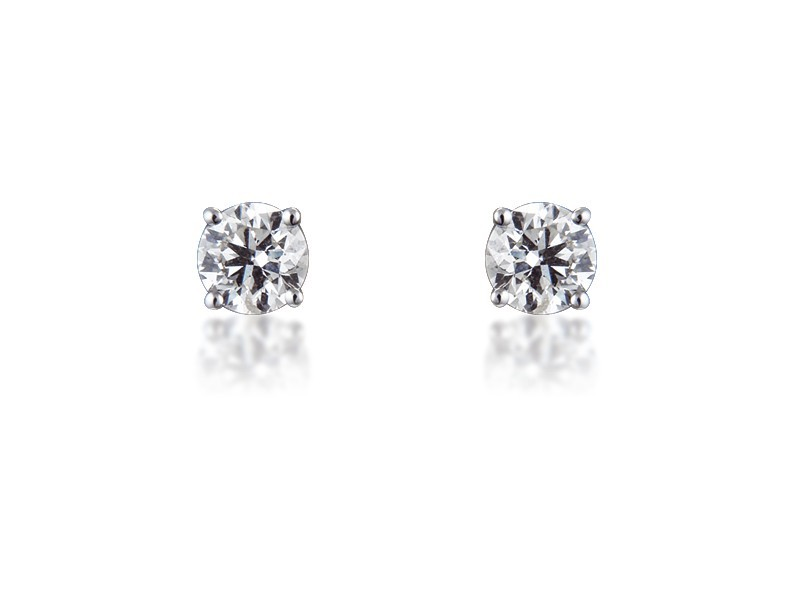 18ct White Gold Earrings with Single Stone Brilliant Cut 1.50ct Diamonds.