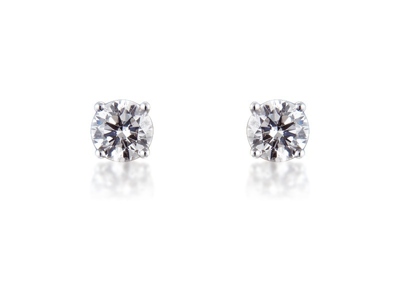 18ct White Gold Earrings  with Single Stone Brilliant Cut 2.00ct Diamonds.