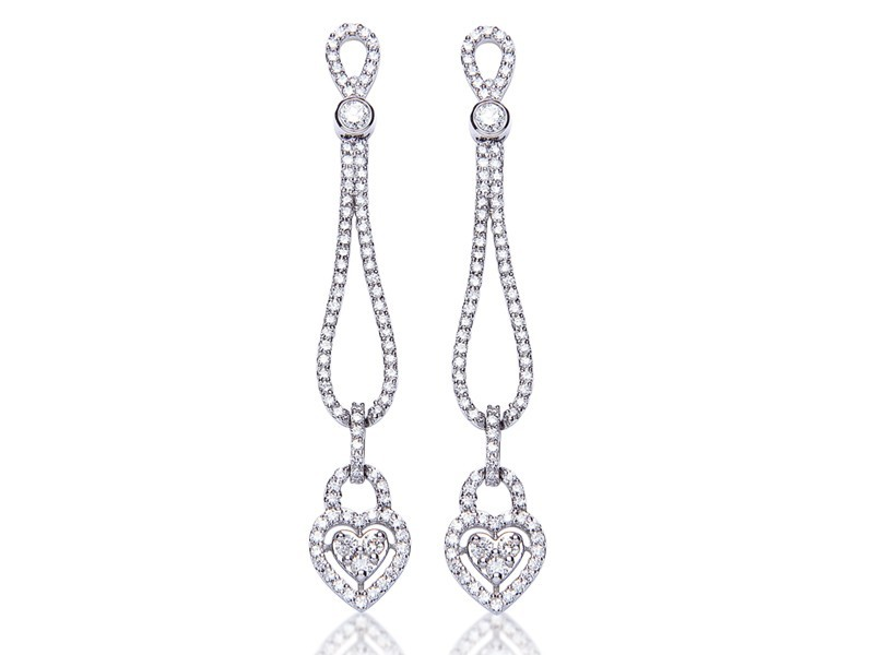 18ct White Gold Drop Earrings  with 2.25ct Diamonds.