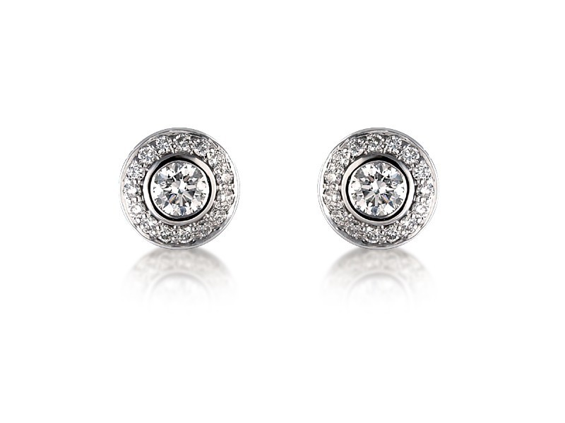 18ct White Gold & Diamonds Stud Earrings with Brilliant Cut Centre Stone 0.90ct Diamond.